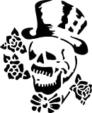 UNLIMITED STENCILS Airbrush Tattoo Schablone TOTENKOPF MIT ZYLINDER, # 139