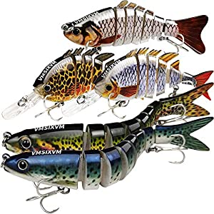 """VMSIXVM 3.9""""-5.3"""" Fishing Lures Bass Lures, Swimbaits for Trout Perch Pike, Lifelike Multi Jointed Topwater Hard Baits, Slow Sinking crankbait for Saltwater Freshwater, Fishing Tackle Kits"""