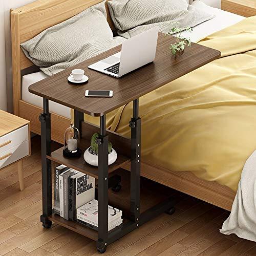 Altezza Regolabile Laptop Desk Carrello Portatile Vassoio Tavolino con 2 Ripiani di Stoccaggio E 4 Ruote, Pigro Comodino Scrivania da Tavolo for Divano Letto (Color : C, Size : 60x40cm)