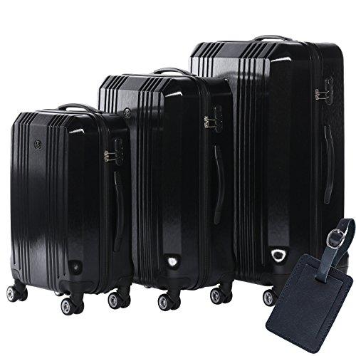 FERGÉ Kofferset Hartschale 3-teilig + 1x Anhänger Cannes Trolley-Set mit Handgepäck 55 cm 3er Set Hartschalenkoffer Roll-Koffer 4 Rollen schwarz