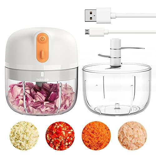 Elektrischer Mini-Zwiebel-Knoblauch-Zerkleinerer, [effizienter denn je] 250ML-Lebensmittelzerkleinerer BPA-frei für Zwiebel-, Pfeffer-, Knoblauch- und Fleischwolf, Babynahrung TREBLEWIND (Weiß)