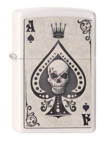 Zippo Feuerzeug 60001386 Ace Skull Card Benzinfeuerzeug, Messing, Edelstahloptik, 1 x 3,5 x 5,5 cm