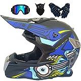 LCRAKON Casco Moto Niño 5-16 Años MJH-02 Cascos Motocross Integral Hombre Mujer para Enduro Quad Bike Bici Motos Electricas Minimoto BMX ATV con Gafas Guantes Máscara Juego de 4 Piezas - Negro Azul