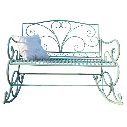 Mendler Schaukelbank HWC-C39, Sitzbank Gartenbank, 2-Sitzer Metall Verzierung 112cm ~ antik-grün ohne Sitzkissen