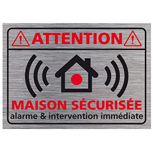 Adhésif - Planche de 14 Adhésifs Attention Maison Sécurisée - Aspect Aluminium Brossé - Dimensions 70x50 mm - Protection Anti UV
