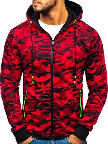 BOLF Hombre Sudadera con Capucha Cierre de Cremallera diseño Camuflaje Estilo Deportivo J.Style DD99-1 Rojo L [1A1]