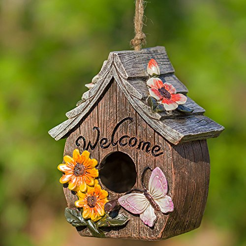 Dawhud Direct Butterfly and Flowers Welcome Decorative Hand-Painted Bird House