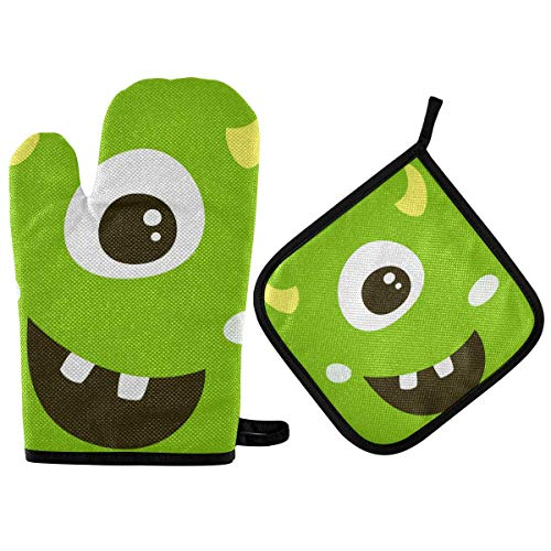 N\ A Cute Monster Oven Mitts and Pot Holders Insulated Gloves & Kitchen Counter Safe Mats for Cooking BBQ Baking Grilling