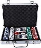 Abcoll Set De Chips De Póquer, Fichas De Póquer De 200pcs Conjunto De Juegos con Tarjetas Didices Funda De Aluminio Portátil para Niños Adultos