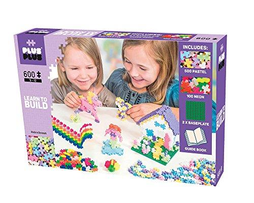 Plus-Plus 9605009 Geniales Konstruktionsspielzeug, Learn to Build Pastel, Bausteine-Set, 600 Teile