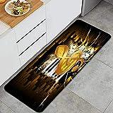 DYCBNESS alfombras de Cocina Antideslizantes Lavables,Golden Clave de Sol sobre un Fondo de una Pared de Ladrillos y Teclas de saxofón y Piano,felpudos para Interiores y Exteriores 45x120cm