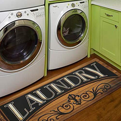 HiiARug 20'x48' Non Slip Laundry Room Rug Runner Printed Rubber Runner Rug Waterproof Laundry Floor Mat Doormat (Black & Brown)