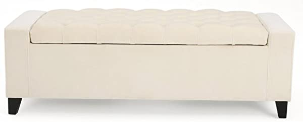 Storage Ottoman Bench Bed End Footstool Velvet Ivory Upholstery