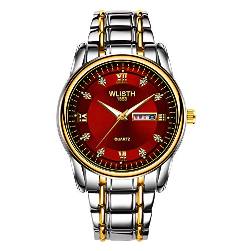 KONGWST Business Men's Watch Impermeable Dual Calendar Steel Belt Casual Luminous Quartz Watch Reloj para Hombre-White Face Gold Belt