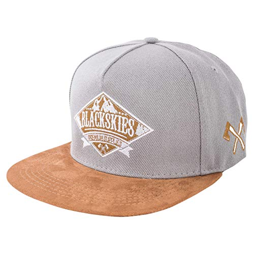 Blackskies Lumberjack Snapback Cap | Damen Herren Baseball Mütze Grau Kappe Skater Holzfäller Axt Kunst-Wildleder