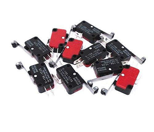 DollaTek 10 Pcs V-156-1C25 Interruptor de Límite Micro con Largo Bisagra Roller Momentáneo SPDT Acción Rápida para Arduino