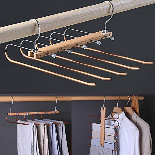OUEEGER Faltbare platzsparende Hosenbügel, Edelstahl & Holz Hosenständer, rutschfeste 5 Schichten Jeans Kleiderbügel für Schrank Organizer (Golden)