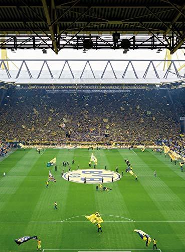 Fototapete BVB Südtribüne Stadion Vliestapete Fußball in gelb schwarz grün weiß 192 x 260 cm XXL Wandtapete Wandbild 119118
