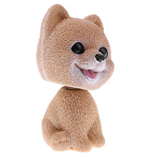 Shaking Head Pomeranian Lucky Dog Puppy Bobbing Heads Bobblehead Toy Aniaml Figures Car Dash Vehicle Decoration