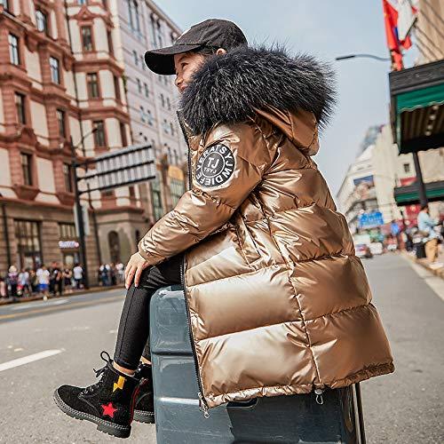 FDSAD Warme Jacke Im Freien Neue Kinder Outdoor Warme Jacke Mädchen Jungen Lange Dicke Winterjacke Geeignet Für Höhe 130Cm Gold