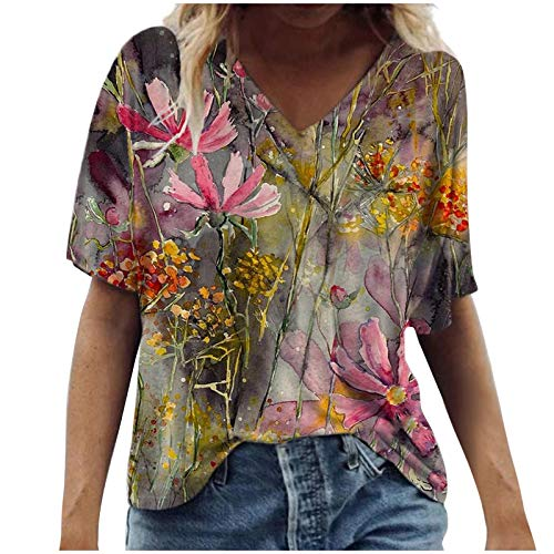 Women's Fashion Casual Loose Short Sleeve T-Shirt Scenic Flowers Printing Round Neck Plus Size Tops Pink