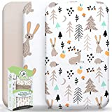 Wooly Heroes Baby Bassinet Sheets, 3 Pack ~ Premium Jersey Cotton Material ~ Fits All Bassinet Mattress Shapes - Comfort + Safety - Gender Neutral Design for Baby Girl & Boy (Rabbit Design)
