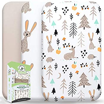 Wooly Heroes Baby Bassinet Sheets 3 Pack ~ Premium Jersey Cotton Material ~ Fits All Bassinet Mattress Shapes - Comfort + Safety - Gender Neutral Design for Baby Girl & Boy  Rabbit Design