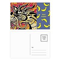 中国のドラゴンのパターンは、アジア・ブラック バナナのポストカードセットサンクスカード郵送側20個