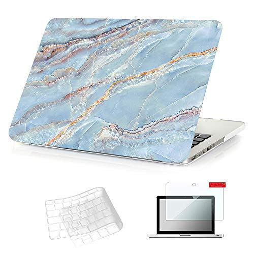 Se7enline 13 Inch MacBook Pro with Retina Display 2012-2017 Laptop A1425/A1502 No CD-ROM Hard Case for MacBook Pro 13-Inch with TPU Keyboard Cover,Screen Protector,Light Blue Marble Pattern