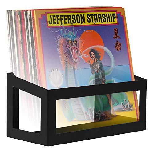 Hudson Hi-Fi Wall Mount Vinyl Record Storage 25-Album Display Holder - Black Satin - One Pack