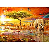 Sunnay Diamond Painting Set,Elefanten Familie, 5D Diamant Painting Set Full Stickerei Groß Bilder DIY Diamonds Malerei, 30x40cm (Elefant Glücklich, 30 x 40 cm)