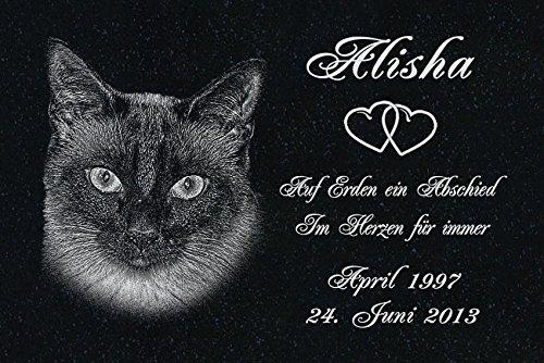 LaserArt24 Granit Grabstein - Grabplatte - Grabschmuck mit der Lasergravur des Motives Katze-ag10 (mit dem Musterbild oder Ihrem eigenen Foto - Siehe Auswahl) und Ihrem Foto/Text und Daten