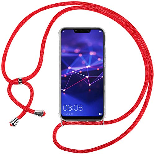 Ingen Funda con Cuerda para Huawei Mate 20 Lite - Carcasa Transparente TPU Suave Silicona Case con Colgante - Rojo