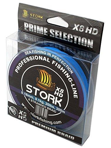 Stork HDx8, 8-Fach geflochtene premium Angelschnur 300m (Blau, 10 lbs / 4.5 kg / 0.10 mm)