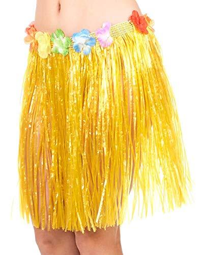 Lovelegis Falda Hawaiana - Falda - Hawaii - Moana - vaiana - oceanía - Accesorios - Disfraz - Carnaval - Halloween - Cosplay - Mujer - niña - 40 cm - Color Amarillo