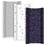 GROW WILD Changing Pad Cover 3 Pack   Soft & Stretchy Jersey Cotton   Baby Changing Table Pad Cover   Diaper Changing Pad Covers for Girls or Boys   Wipeable Sheets   Grey White Navy Blue Stars Moons