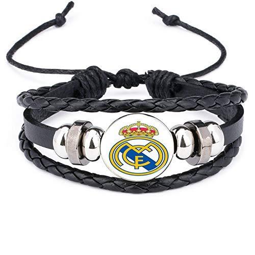 JIEZ Pulsera de cuero con logotipo del club de fútbol Barcelona Real Madrid cristal Cabujón equipo logo pulsera para regalos de fanáticos del fútbol