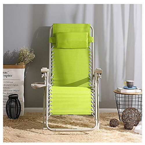 ZYLE Silla reclinable Plegable Sillón de Cama Simple Silla de Oficina portátil Sofá Silla de Playa al Aire Libre Dos Colores 66 × 72 cm (Color : Light Green)
