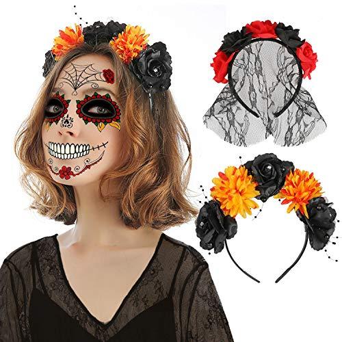 HOWAF 2 Piezas Diadema del Día De Muertos con Rosas Rojas, Tamaño Único, Color Rojo y Negro, Mexicano Diadema de Flores Catrina, Accesorio para Disfraz de Halloween Mujer