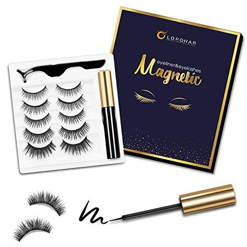 Magnetische Wimpern, Magnetic Wimpern mit Eyeliner Set, 2021 Test Gewinner Wasserdichter magnetischer Eyeliner, 3D wiederverwendbare magnetische Falsch Wimpern 5 Paar mit Pinzette, natürlicher Look