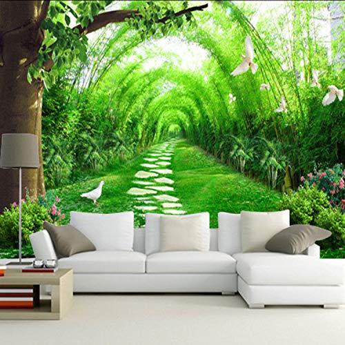 wanpaper behang niet-geweven grote muurschilderingen fresco bamboe weg woonkamer veranda tv achterwand behang Europese minimalistische naadloos 3D behang 300 * 210cm 300 * 210cm