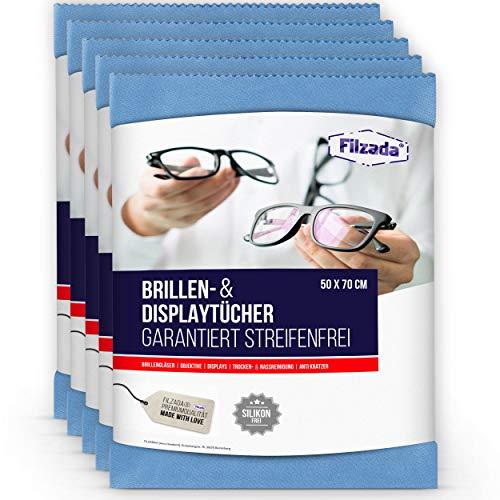 Filzada® 5x Brillenputztuch Microfaser in Optikerqualität - Extra groß in 50 x 70 cm - Reinigt Fussel- und Streifenfrei - auch fürs Objektiv, Display