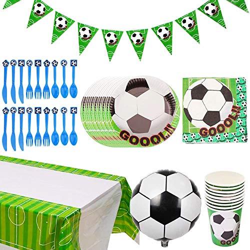 Fiesta de cumpleaños Fútbol BETOY 73PCS Vajilla Fiesta Fútbol Decoración Futbol Cumpleaños Conjunto de Suministros Mantel Platos Servilletas Pancartas Tazas Utensilios para Niños Cumpleaños Niñas