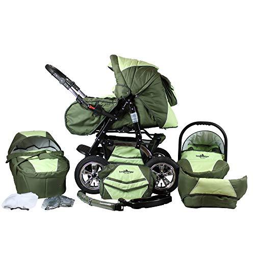 Bergsteiger Milano Kombikinderwagen + Autositz mit Travelsystem (Megaset 10 - teilig); Farbe: Dark Green