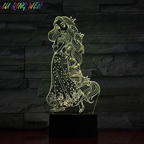 Lámpara de ilusión 3D Luz de noche LED Forma de princesa Rapunzel Decoración para el hogar Festival de niña Lámpara de mesa de regalo Princesa mezclada Los mejores regalos de vacaciones de cumple