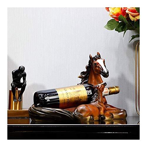 HJXSXHZ366 estante de vino montado en la pared estante del vino, caballo de la vendimia, artesanía de la resina suave decoración sala de estar pequeño estante del vino