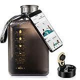 Socoo 2.7Litre Half Gallon Water bottle Wasserflasche für Workout, Outdoor, Fitnessstudio, Yoga, water jug for fitness gym 64oz water bottle (Clear Black)