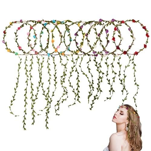 10 piezas Flor Corona Diadema,coronas de flores para niñas,Tocado Bohemio Multicolor Accesorios,Cinta...