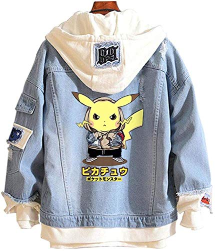 MAOMI Cowboy Hooded Jacket Big Detective - 3D-Farbdruck Youth Adult Jacket with Hat Jeansjacke,H-M