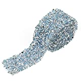 Sheens Rollo de Cinta de Diamantes 1 Yarda 30mm Decoración de Cinta de Diamantes de imitación de Cristal Brillante para Vestidos de Fiesta Cinturón Apliques Pinza para el Cabello Collar(Azul Claro)